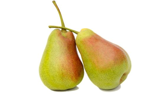 Two ripe large yellow pears. Presented on a white background.