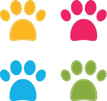 Colorful Doggie Paws collection. Vector Illustration