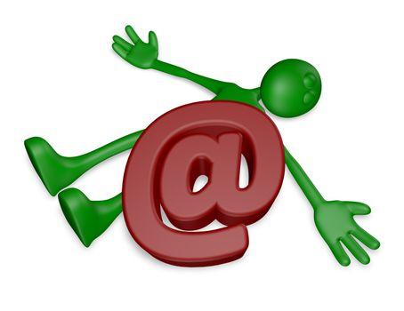 dead green guy under email alias - 3d illustration
