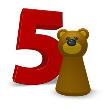 number five and brown bear - 3d illustration