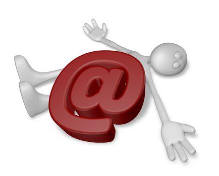 dead white guy under email alias - 3d illustration