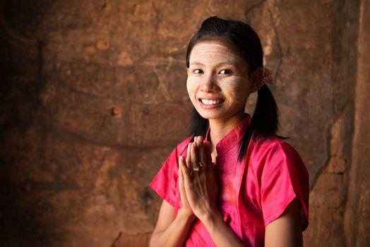Myanmar girl welcoming