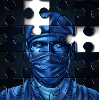 Medical care problems concept with a doctor and a surgeon mask symbol in a puzzle jigsaw texture with pieces missing as change to the status quo of the broken hospital service insurance that needs to be fixed.