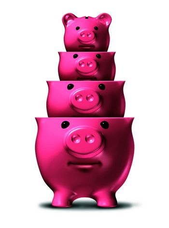 Savings loss and shrinking financial wealth and home finances with piggy banks shrinking in size as a symbol of debt and recession and losing money on a white background.