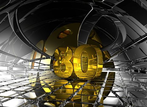 number eighty in abstract futuristic space - 3d illustration