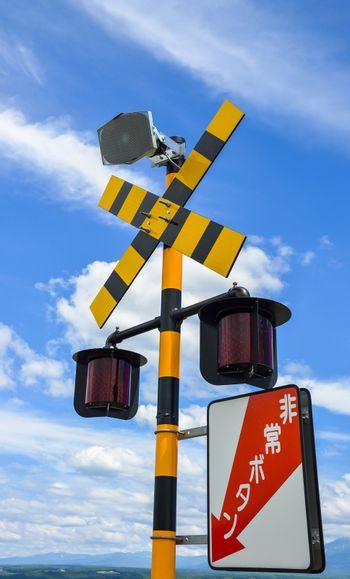 Train Caution sign in Japan