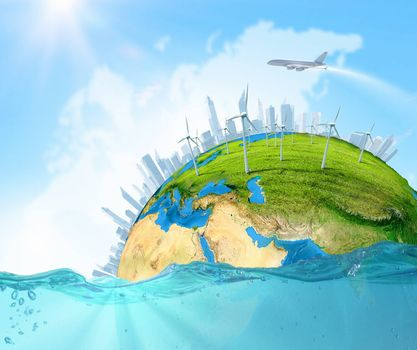 City on island floating in water. Global warming. Elements of this image are furnished by NASA