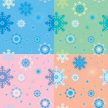 Seamless backgrounds with snowflakes in pastel tones.