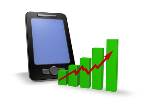 smartphone and business graph - 3d illustration