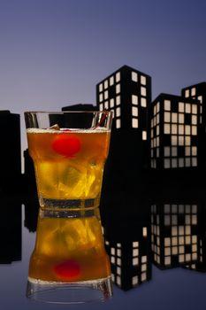 Metropolis Mai Tai cocktail in city skyline setting