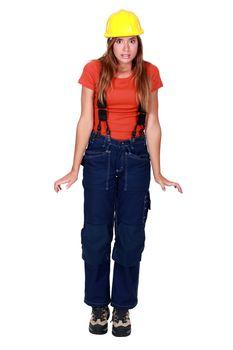 Handywoman in overalls