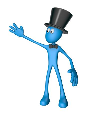 blue guy with topper and bow shows something - 3d illustration
