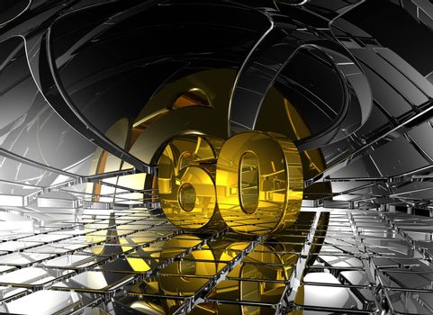 number sixty in abstract futuristic space - 3d illustration