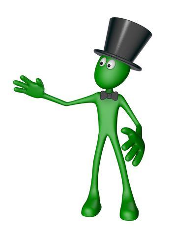 green guy with topper and bow shows something - 3d illustration