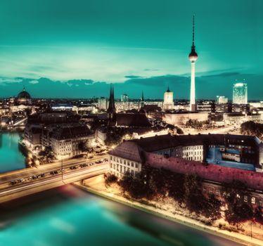 Berlin, Germany major landmarks at night