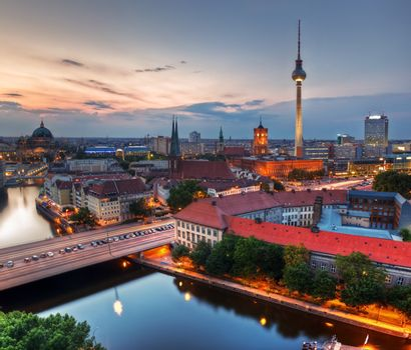 Berlin, Germany major landmarks at sunset