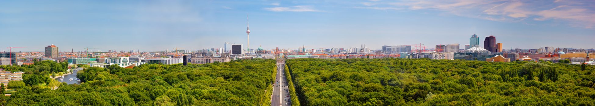 Berlin panorama. Berlin TV Tower and major landmarks