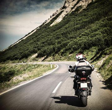 Racer on mountainous highway