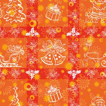 Christmas cartoon seamless background for holiday design, white contours on red.
