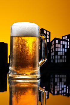 Metropolis lager beer  in color skyline setting