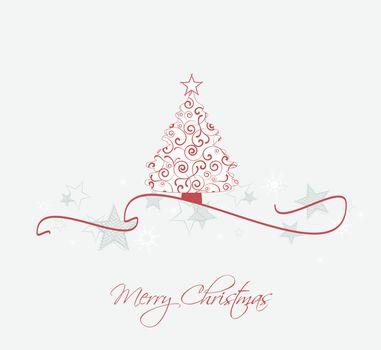 Merry Christmas card, Christmas tree and snowflakes