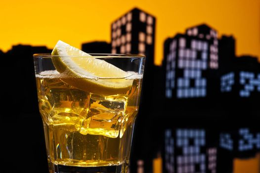 Metropolis Whisky sour cocktail in city skyline setting
