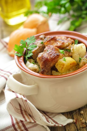 Baked meat with potato