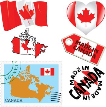 set of different symbols in national colours of Canada