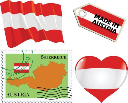 set of different symbols in national colours of Austria