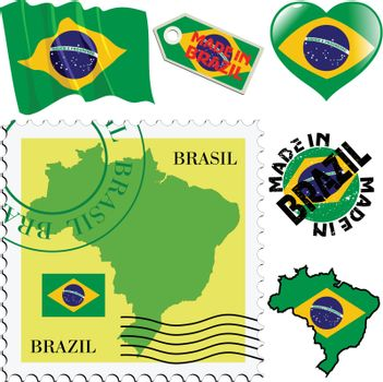 set of different symbols in national colours of Brazil