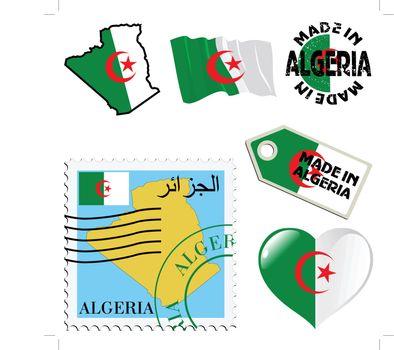 set of different simbols in national colours of Algeria