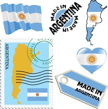 set of different simbols in national colours of Argentina