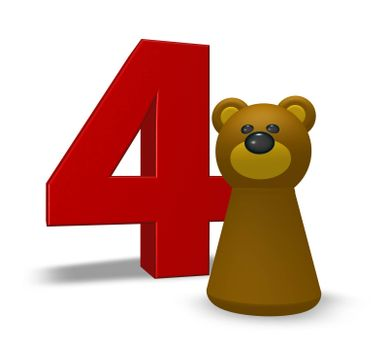 number four and brown bear - 3d illustration