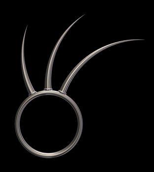 metal ring with prickles on black background - 3d illustration