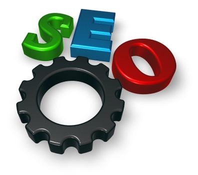 seo tag with gear wheel - 3d illustration