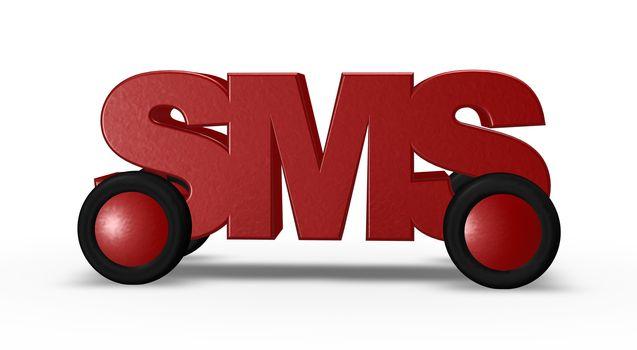 sms-tag on wheels - 3d illustration