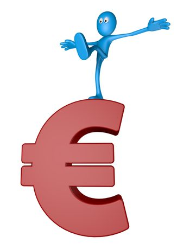 blue guy on euro symbol - 3d illustration