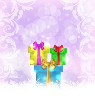 Illustration set Christmas gift boxes on light background - vector