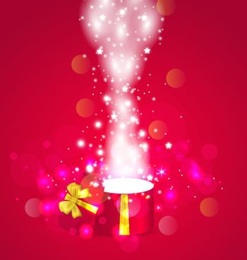 Illustration Christmas background with open magic gift box - vector