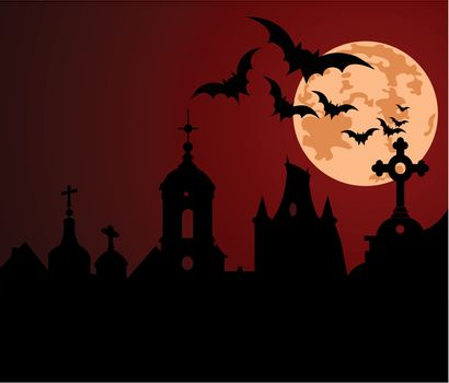 An illustration of a Halloween night in the town.