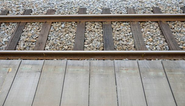 Railway and wooden platform