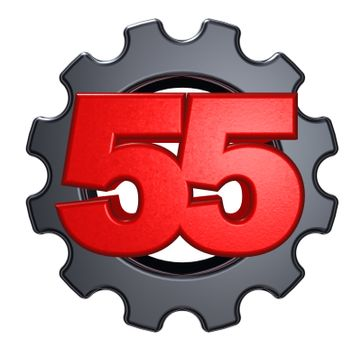number fifty five and gear wheel on white background - 3d illustration