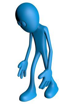 sad blue guy - 3d illustration