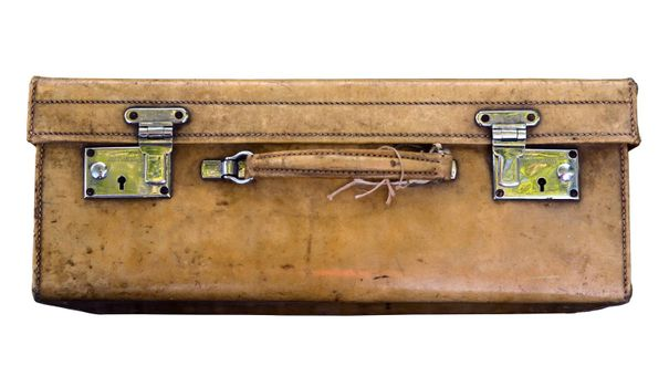 A Vintage Suitcase On A White Background