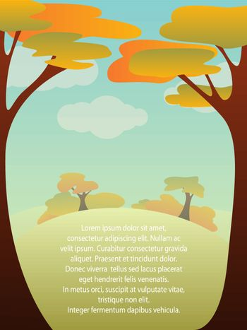 Vector illustration with autumn landscape and copyspace