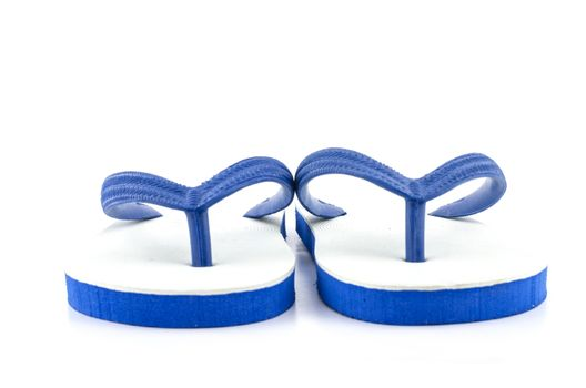 white blue Slippers isolated on white background
