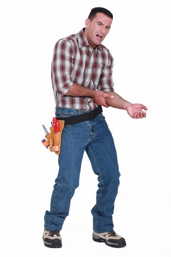 Builder with a sore arm