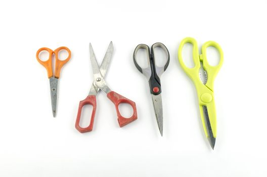 four Scissors isolated with white background