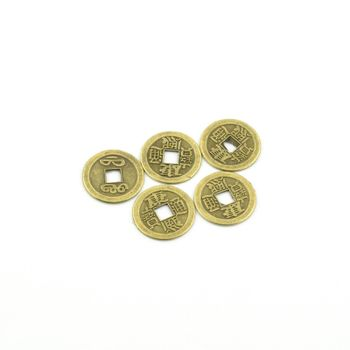 Chinese coins isolated with white background