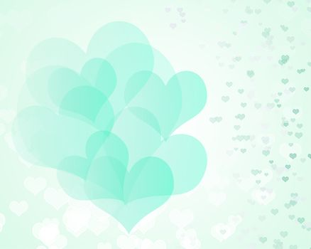 green heart of valentine on soft background